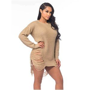 Windsor Distressed Long Knit Sweater